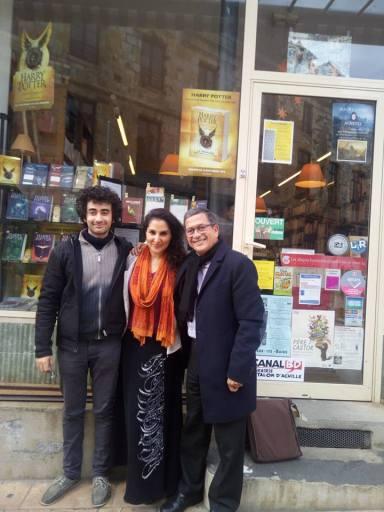 Avec Shadi Fathi, Musicienne iranienne, Yahia Belaskri, l'écrivain Algérian, Monluçon, 2016.
